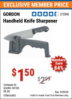 Harbor Freight ITC Coupon HANDHELD KNIFE SHARPENER Lot No. 60361/62452 Expired: 9/30/20 - $1.5