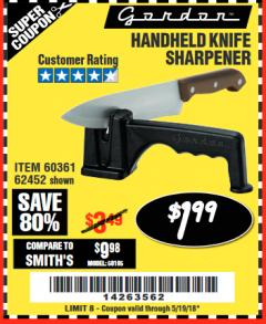 Harbor Freight Coupon HANDHELD KNIFE SHARPENER Lot No. 60361/62452 Expired: 5/19/18 - $1.99