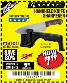 Harbor Freight Coupon HANDHELD KNIFE SHARPENER Lot No. 60361/62452 Expired: 8/11/18 - $1.99