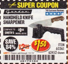Harbor Freight Coupon HANDHELD KNIFE SHARPENER Lot No. 60361/62452 Expired: 7/31/19 - $1.5