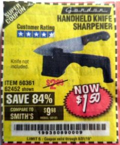 Harbor Freight Coupon HANDHELD KNIFE SHARPENER Lot No. 60361/62452 Expired: 8/31/19 - $1.5