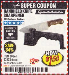 Harbor Freight Coupon HANDHELD KNIFE SHARPENER Lot No. 60361/62452 Expired: 10/31/19 - $1.5