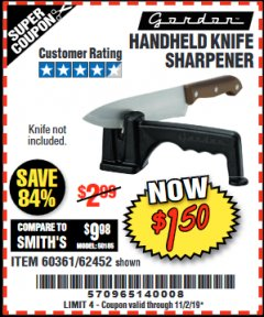 Harbor Freight Coupon HANDHELD KNIFE SHARPENER Lot No. 60361/62452 Expired: 11/2/19 - $1.5