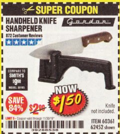 Harbor Freight Coupon HANDHELD KNIFE SHARPENER Lot No. 60361/62452 Expired: 11/30/19 - $1.5