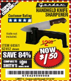 Harbor Freight Coupon HANDHELD KNIFE SHARPENER Lot No. 60361/62452 Expired: 12/14/19 - $1.5