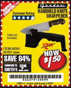 Harbor Freight Coupon HANDHELD KNIFE SHARPENER Lot No. 60361/62452 Expired: 2/15/20 - $1.5