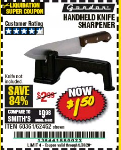 Harbor Freight Coupon HANDHELD KNIFE SHARPENER Lot No. 60361/62452 Expired: 6/30/20 - $1.5