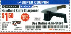 Harbor Freight Coupon HANDHELD KNIFE SHARPENER Lot No. 60361/62452 Valid Thru: 8/21/20 - $1.5