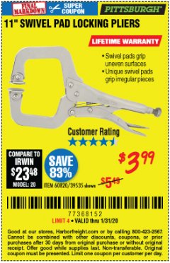 "Harbor Freight Coupon 11"" SWIVEL PAD LOCKING PLIERS Lot No. 60820/39535 Expired: 1/31/20 - $3.99"
