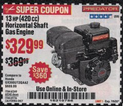 Harbor Freight Coupon PREDATOR 13 HP (420 CC) OHV HORIZONTAL SHAFT GAS ENGINES Lot No. 60349/60340/69736 Expired: 7/5/20 - $329.99