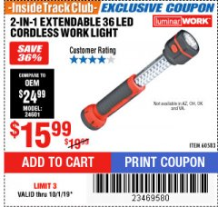 Harbor Freight ITC Coupon 2-IN-1 EXTENDABLE, 36 LED CORDLESS WORK LIGHT Lot No. 60583 Expired: 10/1/19 - $15.99