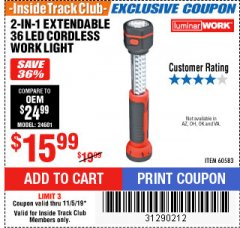 Harbor Freight ITC Coupon 2-IN-1 EXTENDABLE, 36 LED CORDLESS WORK LIGHT Lot No. 60583 Expired: 11/5/19 - $15.99