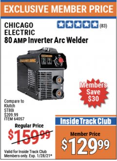 Harbor Freight ITC Coupon 80 AMP INVERTER ARC WELDER Lot No. 64057 Expired: 1/28/21 - $129.99