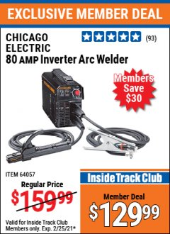 Harbor Freight ITC Coupon 80 AMP INVERTER ARC WELDER Lot No. 64057 Expired: 2/25/21 - $129.99