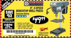 "Harbor Freight Coupon 8"", 5 SPEED BENCH MOUNT DRILL PRESS Lot No. 60238/62390/62520/44506/38119 Expired: 6/2/18 - $49.99"