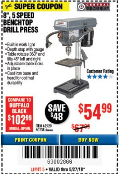 "Harbor Freight Coupon 8"", 5 SPEED BENCH MOUNT DRILL PRESS Lot No. 60238/62390/62520/44506/38119 Expired: 5/27/18 - $54.99"