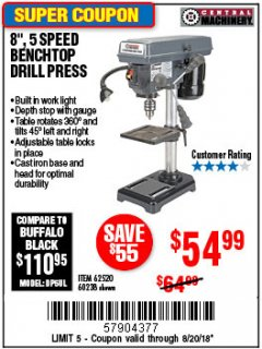 "Harbor Freight Coupon 8"", 5 SPEED BENCH MOUNT DRILL PRESS Lot No. 60238/62390/62520/44506/38119 Expired: 8/20/18 - $54.99"