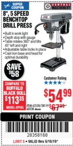 "Harbor Freight Coupon 8"", 5 SPEED BENCH MOUNT DRILL PRESS Lot No. 60238/62390/62520/44506/38119 Expired: 6/16/19 - $54.99"