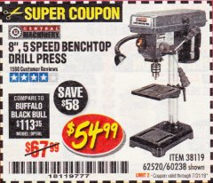 "Harbor Freight Coupon 8"", 5 SPEED BENCH MOUNT DRILL PRESS Lot No. 60238/62390/62520/44506/38119 Expired: 7/31/19 - $54.99"