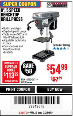 "Harbor Freight Coupon 8"", 5 SPEED BENCH MOUNT DRILL PRESS Lot No. 60238/62390/62520/44506/38119 Expired: 7/22/19 - $54.99"
