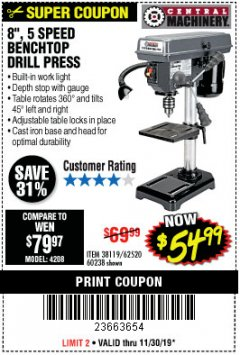 "Harbor Freight Coupon 8"", 5 SPEED BENCH MOUNT DRILL PRESS Lot No. 60238/62390/62520/44506/38119 Expired: 11/30/19 - $0"