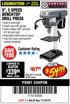 "Harbor Freight Coupon 8"", 5 SPEED BENCH MOUNT DRILL PRESS Lot No. 60238/62390/62520/44506/38119 Expired: 11/10/19 - $54.99"