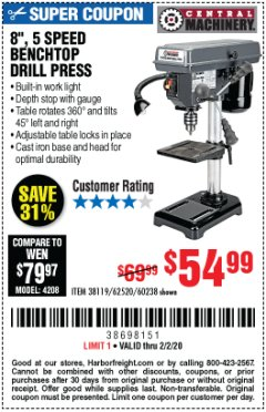 "Harbor Freight Coupon 8"", 5 SPEED BENCH MOUNT DRILL PRESS Lot No. 60238/62390/62520/44506/38119 Expired: 2/2/20 - $54.99"