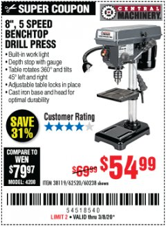 "Harbor Freight Coupon 8"", 5 SPEED BENCH MOUNT DRILL PRESS Lot No. 60238/62390/62520/44506/38119 Expired: 3/8/20 - $54.99"