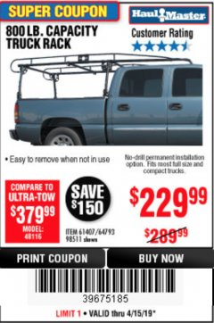 Harbor Freight Coupon 800 LB. CAPACITY FULL SIZE TRUCK RACK Lot No. 61407/98511 Expired: 4/15/19 - $229.99