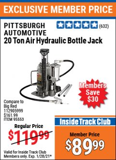 Harbor Freight ITC Coupon 20 TON AIR/HYDRAULIC BOTTLE JACK Lot No. 96147/69593/95553 Expired: 1/28/21 - $89.99