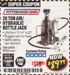 Harbor Freight Coupon 20 TON AIR/HYDRAULIC BOTTLE JACK Lot No. 96147/69593/95553 Expired: 11/30/18 - $89.99
