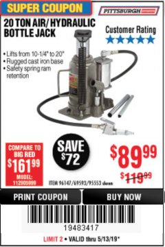 Harbor Freight Coupon 20 TON AIR/HYDRAULIC BOTTLE JACK Lot No. 96147/69593/95553 Expired: 5/13/19 - $89.99