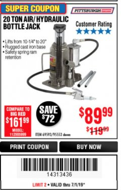 Harbor Freight Coupon 20 TON AIR/HYDRAULIC BOTTLE JACK Lot No. 96147/69593/95553 Expired: 6/30/19 - $89.99