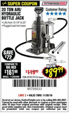 Harbor Freight Coupon 20 TON AIR/HYDRAULIC BOTTLE JACK Lot No. 96147/69593/95553 Expired: 11/30/19 - $89.99