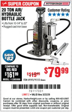 Harbor Freight Coupon 20 TON AIR/HYDRAULIC BOTTLE JACK Lot No. 96147/69593/95553 Expired: 3/22/20 - $79.99