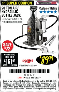 Harbor Freight Coupon 20 TON AIR/HYDRAULIC BOTTLE JACK Lot No. 96147/69593/95553 Expired: 6/30/20 - $89.99