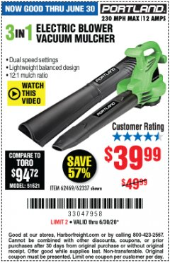 Harbor Freight Coupon 3 IN 1 ELECTRIC BLOWER VACUUM MULCHER Lot No. 62469/62337 Expired: 6/30/20 - $39.99