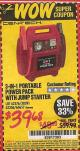 Harbor Freight Coupon 3-IN-1 PORTABLE POWER PACK WITH JUMP STARTER Lot No. 38391/60657/62306/62376/64083 Expired: 9/30/15 - $39.68