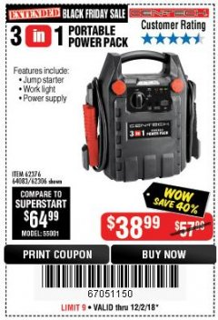 Harbor Freight Coupon 3-IN-1 PORTABLE POWER PACK WITH JUMP STARTER Lot No. 38391/60657/62306/62376/64083 Expired: 12/2/18 - $38.99