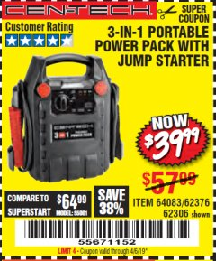 Harbor Freight Coupon 3-IN-1 PORTABLE POWER PACK WITH JUMP STARTER Lot No. 38391/60657/62306/62376/64083 Expired: 4/6/19 - $39.99