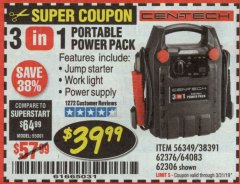 Harbor Freight Coupon 3-IN-1 PORTABLE POWER PACK WITH JUMP STARTER Lot No. 38391/60657/62306/62376/64083 Expired: 3/31/19 - $39.99