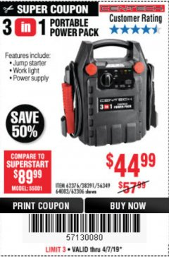 Harbor Freight Coupon 3-IN-1 PORTABLE POWER PACK WITH JUMP STARTER Lot No. 38391/60657/62306/62376/64083 Expired: 7/4/19 - $44.99