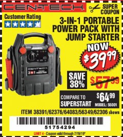 Harbor Freight Coupon 3-IN-1 PORTABLE POWER PACK WITH JUMP STARTER Lot No. 38391/60657/62306/62376/64083 Expired: 7/19/19 - $39.99