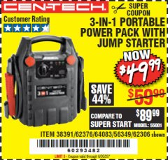 Harbor Freight Coupon 3-IN-1 PORTABLE POWER PACK WITH JUMP STARTER Lot No. 38391/60657/62306/62376/64083 Valid Thru: 6/30/20 - $49.99