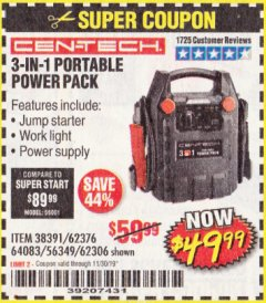 Harbor Freight Coupon 3-IN-1 PORTABLE POWER PACK WITH JUMP STARTER Lot No. 38391/60657/62306/62376/64083 Expired: 11/30/19 - $49.99