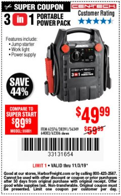 Harbor Freight Coupon 3-IN-1 PORTABLE POWER PACK WITH JUMP STARTER Lot No. 38391/60657/62306/62376/64083 Expired: 11/3/19 - $49.99