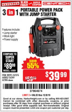 Harbor Freight Coupon 3-IN-1 PORTABLE POWER PACK WITH JUMP STARTER Lot No. 38391/60657/62306/62376/64083 Expired: 12/8/19 - $39.99