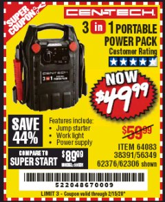 Harbor Freight Coupon 3-IN-1 PORTABLE POWER PACK WITH JUMP STARTER Lot No. 38391/60657/62306/62376/64083 Expired: 2/15/20 - $49.99