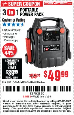 Harbor Freight Coupon 3-IN-1 PORTABLE POWER PACK WITH JUMP STARTER Lot No. 38391/60657/62306/62376/64083 Expired: 1/1/20 - $49.99