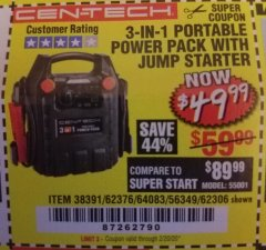 Harbor Freight Coupon 3-IN-1 PORTABLE POWER PACK WITH JUMP STARTER Lot No. 38391/60657/62306/62376/64083 Expired: 2/20/20 - $49.99